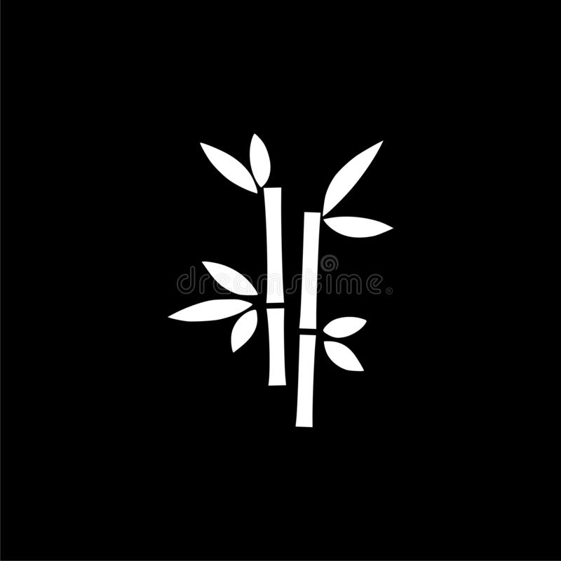 Tropisk symbol eller logo för sidabambuträd på mörk bakgrund royaltyfri illustrationer