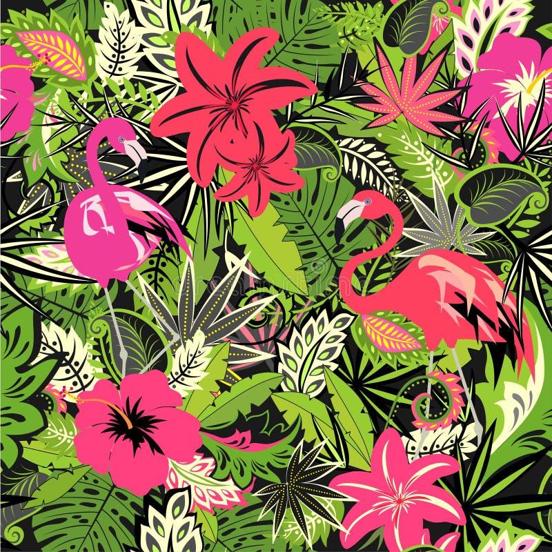 Tropisk tapet med exotiska blommor och sidor och rosa flamingo för tyg, textil, inpackningspapper, hälsningkort, inbjudan royaltyfri illustrationer