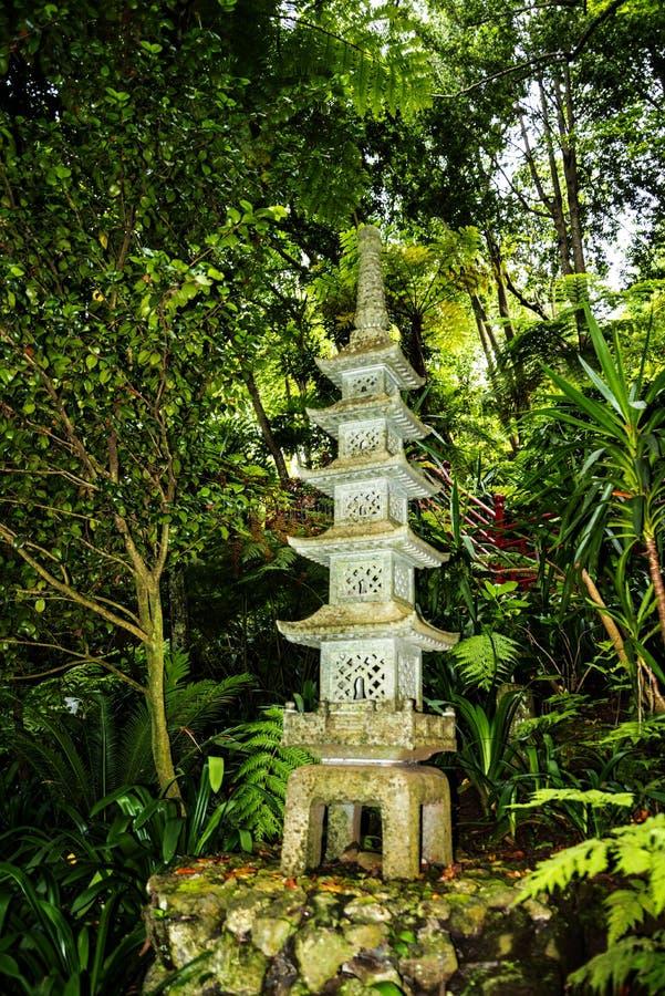 Tropisk trädgård på Monte ovanför den Funchal madeiran royaltyfria bilder