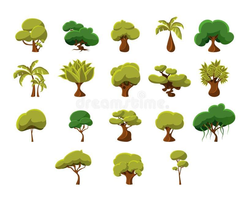 Tropisk trädsamling royaltyfri illustrationer