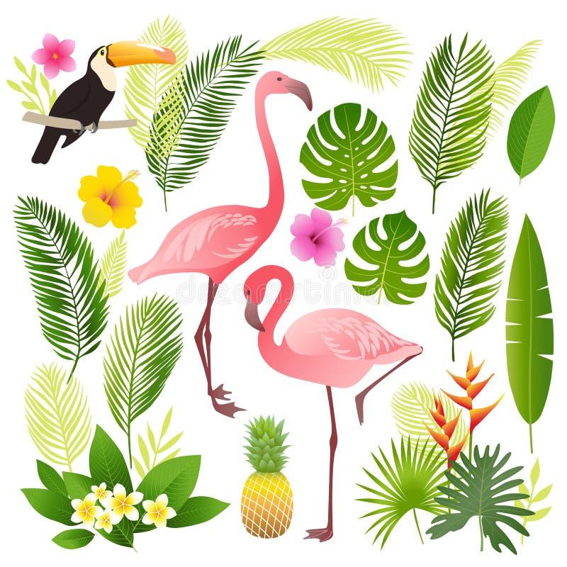 Tropisk uppsättning Palmblad tropiska växter, blommor, ananas, flamingo, tukan royaltyfri foto