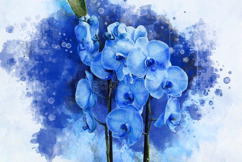 Tropisk växt för blå orkidé med purpurfärgade blommor och gröna sidor grupper som tecknar spolning f?r vattenf?rg f?r blomningflo vektor illustrationer