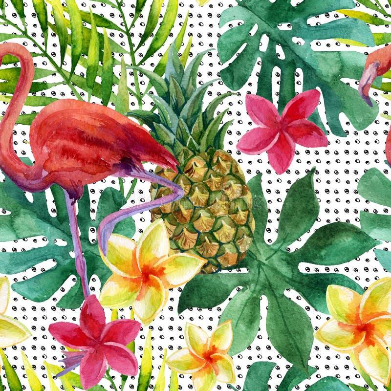 Tropisk vattenfärgananas, blommor och sidor med skuggor royaltyfri illustrationer