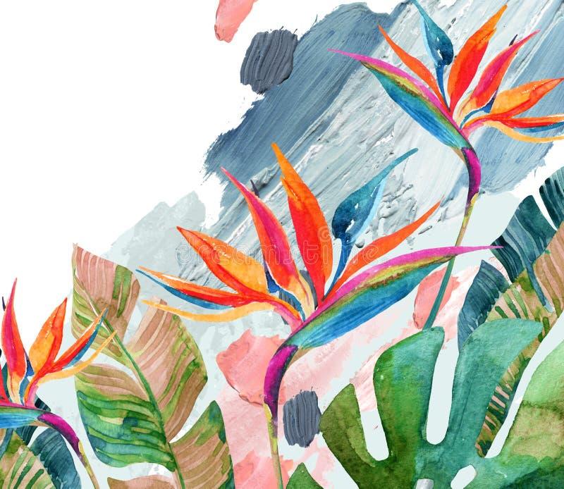 Tropisk vattenfärgfågel-av-Paradise blomma och tropiska sidor på grov borsteslaglängdbakgrund royaltyfria bilder