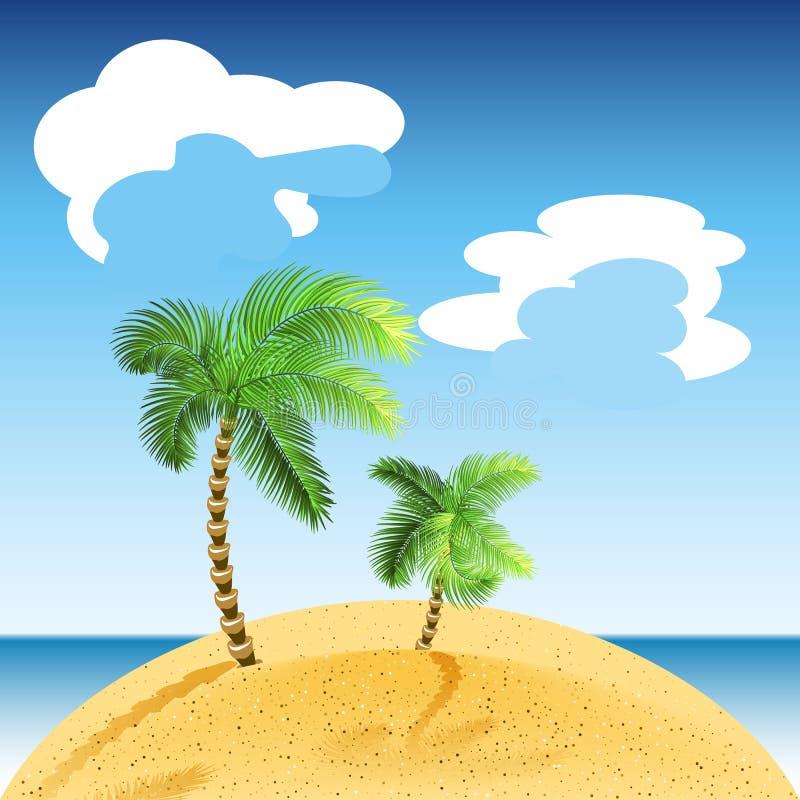 tropisk vektor för illustrationliggandehav Sommarstranden med gräsplan gömma i handflatan clouds skyen stock illustrationer