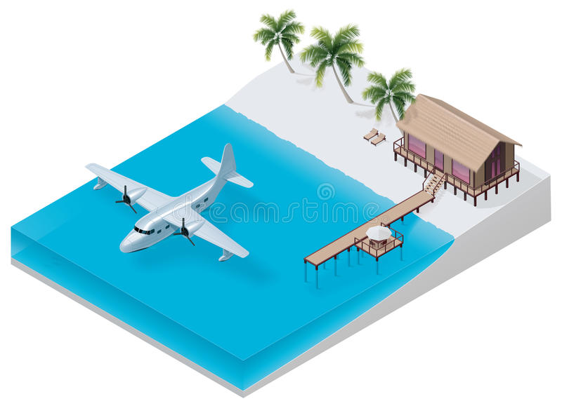 tropisk vektor för isometrisk semesterort stock illustrationer