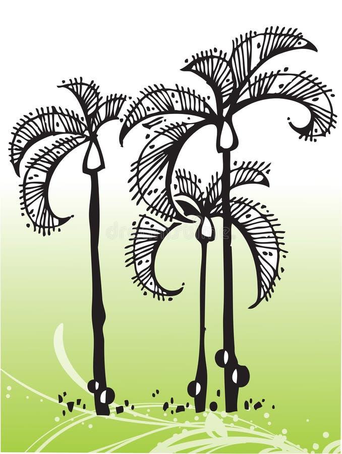 tropisk vektor för trees stock illustrationer