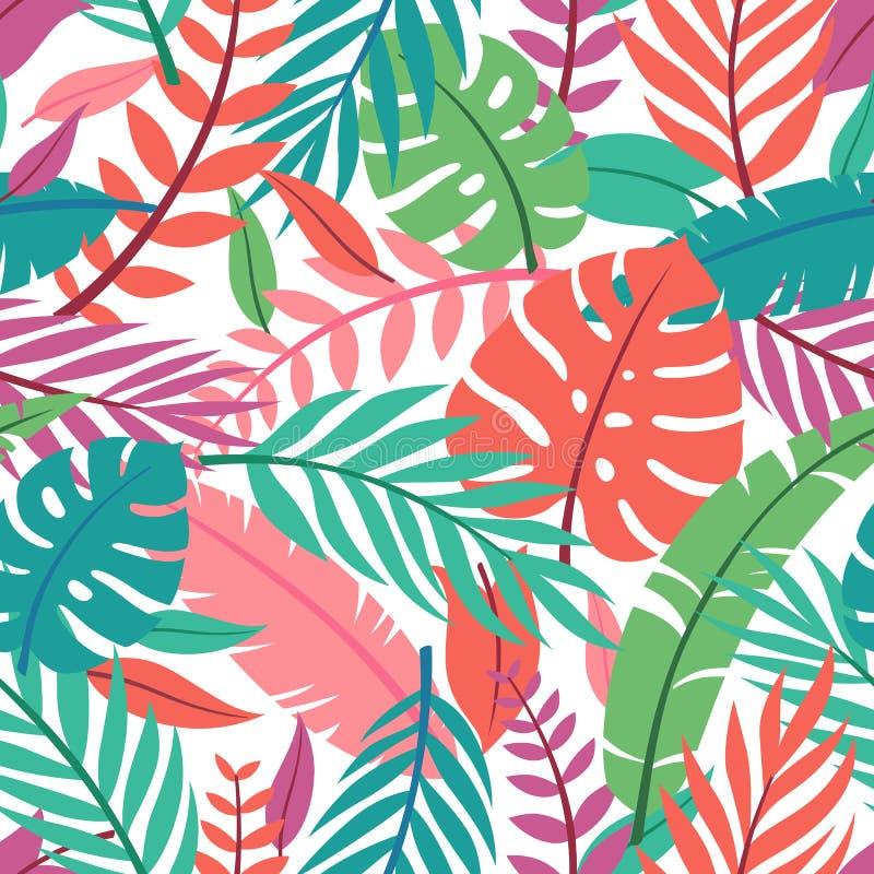Tropisk vektorgräsplan lämnar den sömlösa modellen Exotisk tapet Gömma i handflatan med havet och träbrädet stock illustrationer