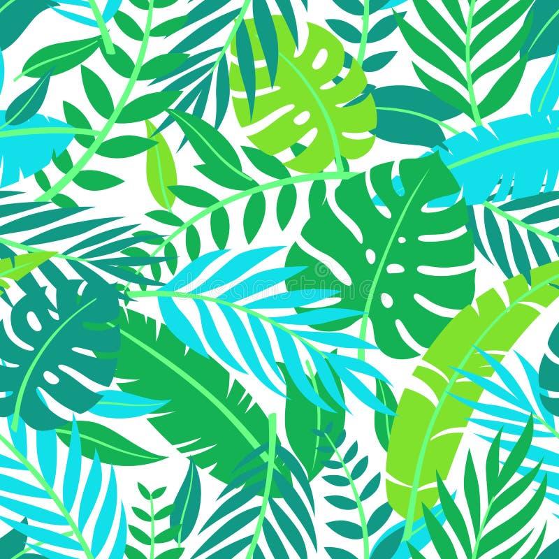 Tropisk vektorgräsplan lämnar den sömlösa modellen Exotisk tapet Gömma i handflatan med havet och träbrädet Tropisk djungellövver vektor illustrationer