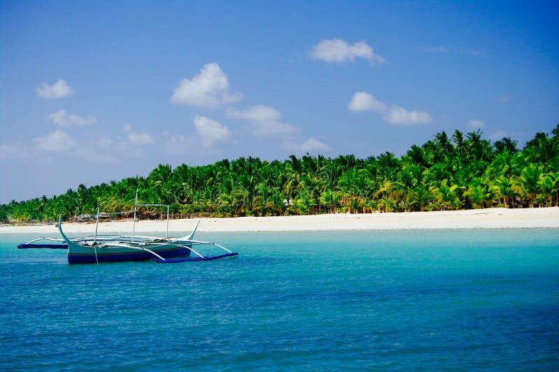 Tropisk vit sandstrand med gröna palmträd Exotiskt öparadis arkivbilder