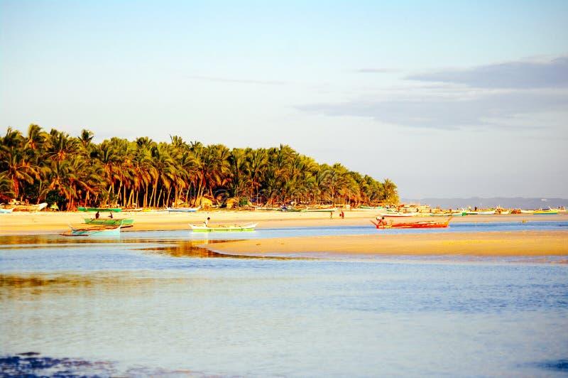 Tropisk vit sandstrand med gröna palmträd och parkerade fiskebåtar i sanden Exotiskt öparadis royaltyfria foton