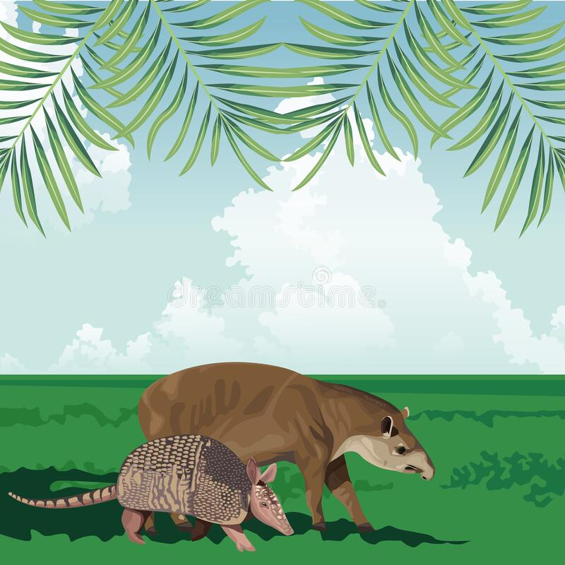 Tropiska armadillo- och tapir fauna- och florlandskap stock illustrationer