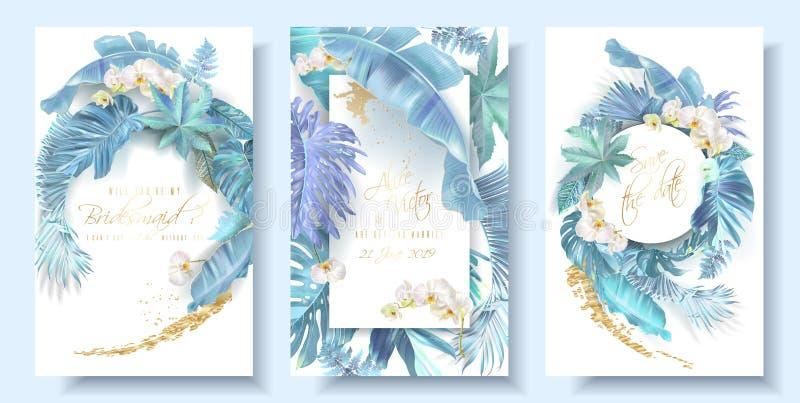 Tropiska blåa sidor och orkidébröllopkort stock illustrationer