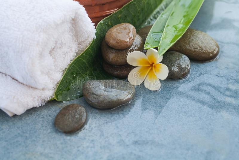 Tropiska blomma- och brunnsortobjekt för massage och kopplar av royaltyfri bild