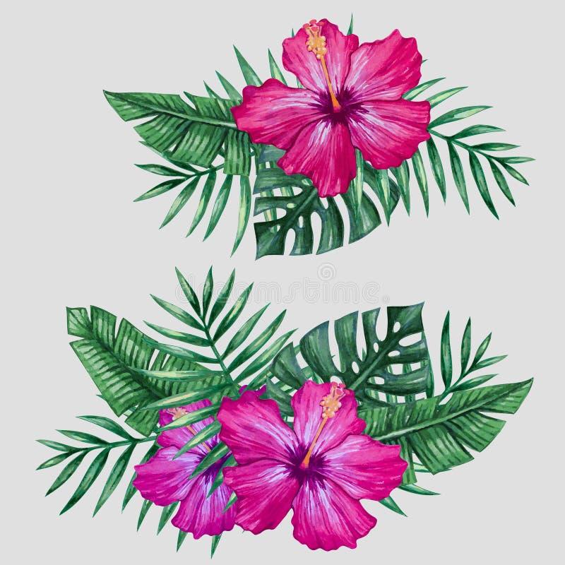 Tropiska blommor för vattenfärg och palmträdsidor stock illustrationer