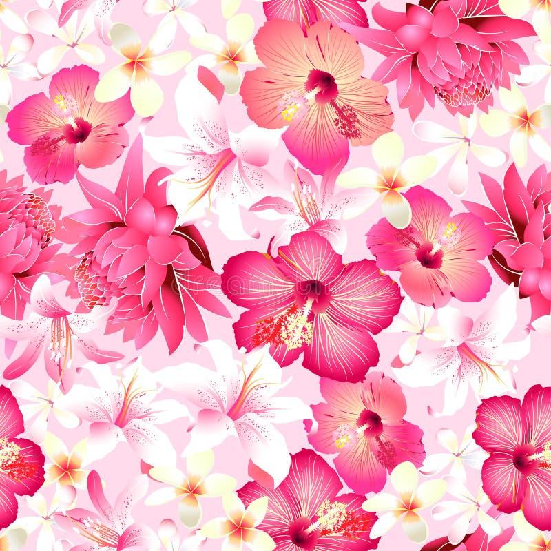 Tropiska blommor med den sömlösa modellen för rosa bakgrund royaltyfri illustrationer