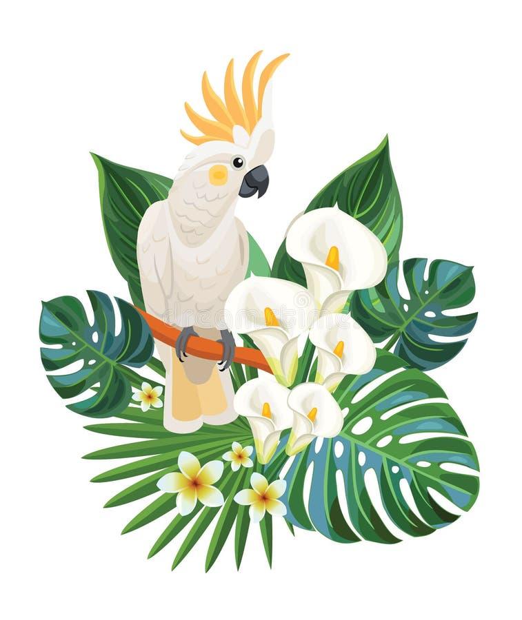 Tropiska blommor och kakadua också vektor för coreldrawillustration royaltyfri illustrationer