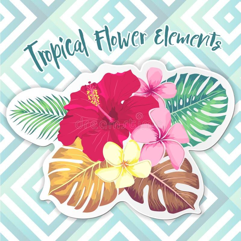 Tropiska blommor, palmblad, djungelblad, f?gel av paradisblomman, hibiskus Exotiska illustrationer för vektor som är blom- stock illustrationer