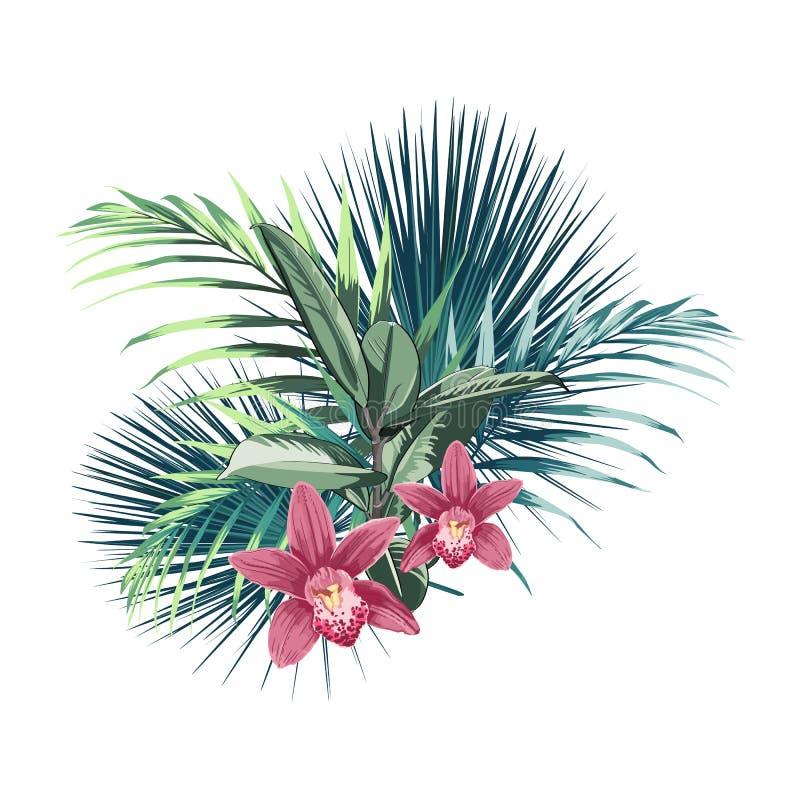 Tropiska blommor, palmblad, djungelblad, orkidéparadisblomma royaltyfri illustrationer