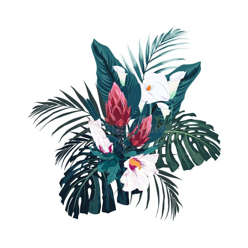 Tropiska blommor, palmblad, djungelbladet, hibiskusen och proteaen blommar royaltyfri illustrationer