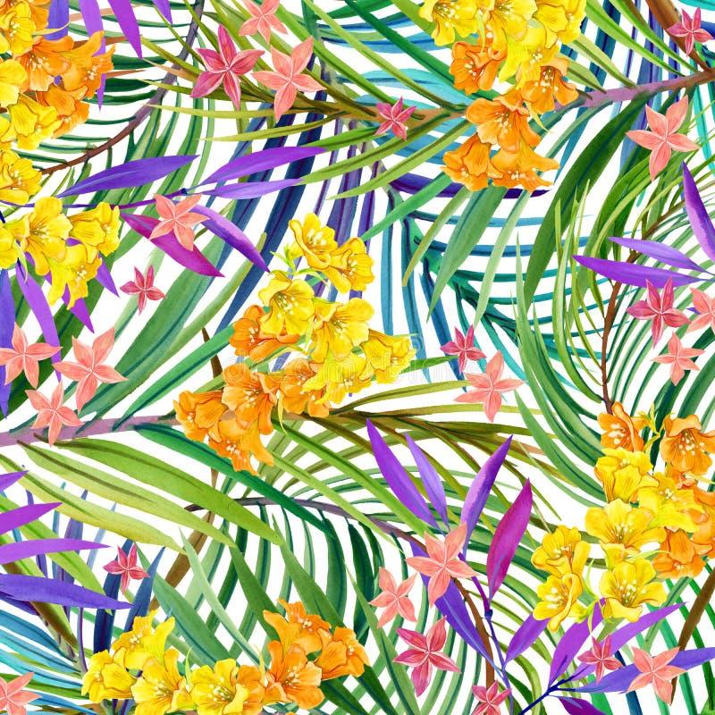 Tropiska blommor, sidor för flygillustration för näbb dekorativ bild dess paper stycksvalavattenfärg vektor illustrationer