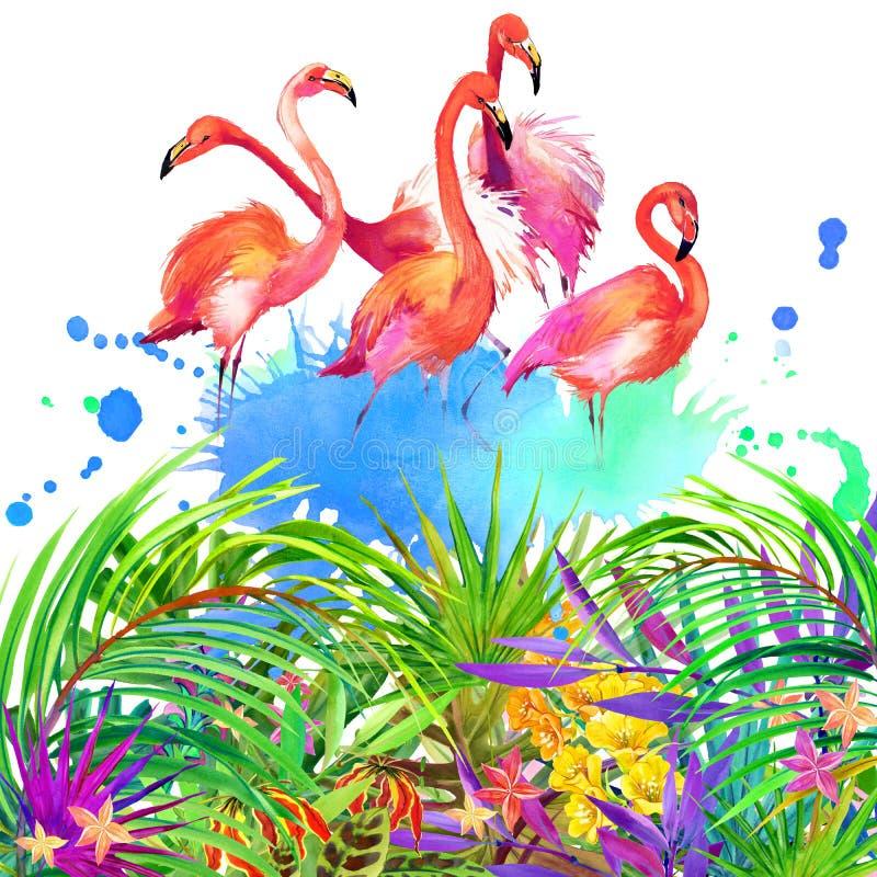 Tropiska blommor, sidor och fågel royaltyfri illustrationer