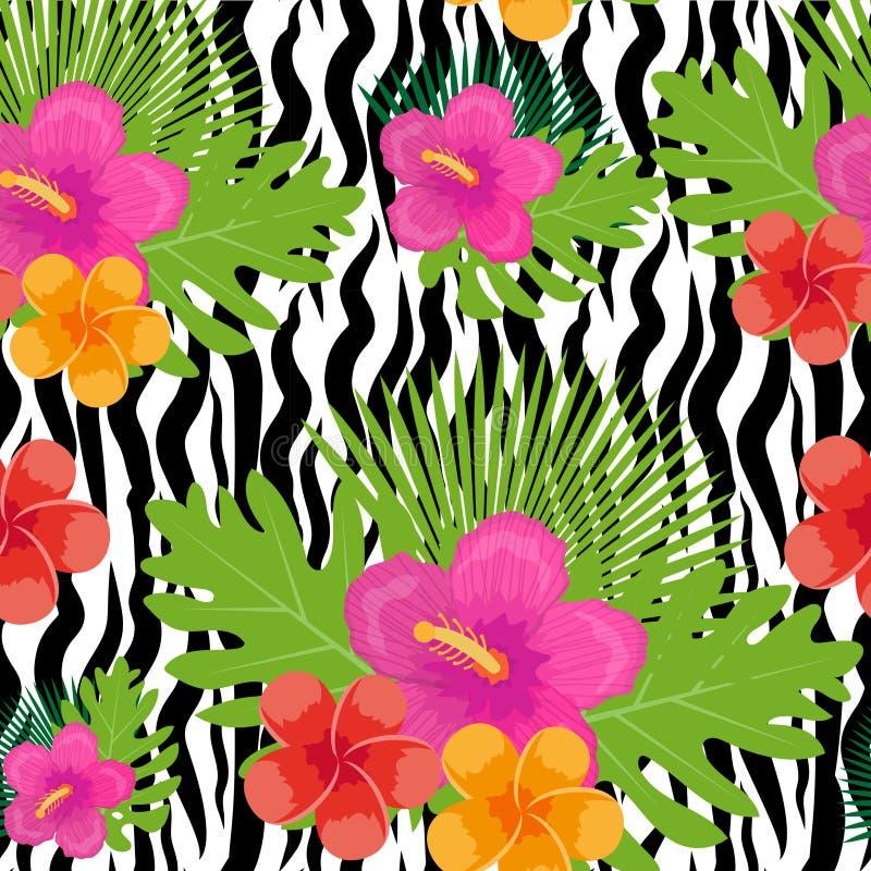 Tropiska blommor, växter, sidor och sömlös modell för djur hud Ändlös blom- bakgrund för sommar Upprepa för paradis vektor illustrationer
