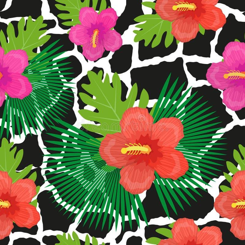 Tropiska blommor, växter, sidor och sömlös modell för djur hud Ändlös blom- bakgrund för sommar Upprepa för paradis royaltyfri illustrationer