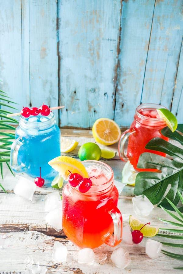 Tropiska coctailar för sommar royaltyfri fotografi
