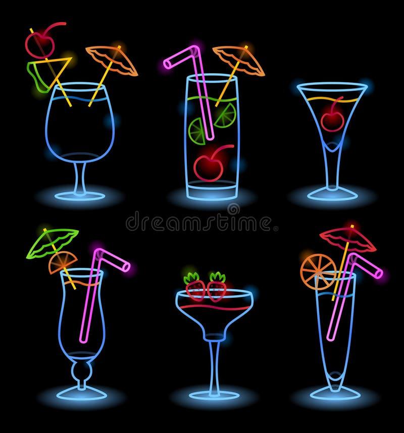 Tropiska drinkar för neon vektor illustrationer