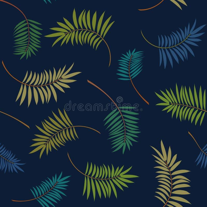 Tropiska färgrika palmblad på mörkret - blå bakgrund Moderiktig sömlös modell för vektor royaltyfri illustrationer
