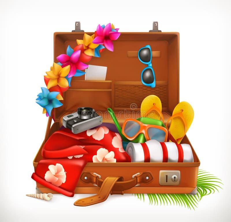 Tropiska ferier Sommarsemester, öppen resväska gears symbolen royaltyfri illustrationer