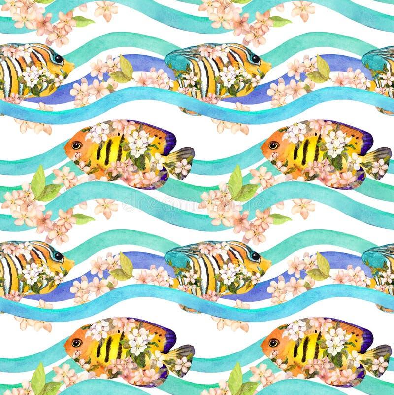 Tropiska fiskar i vår blommar i vågor, band upprepa för bakgrund vattenfärg vektor illustrationer