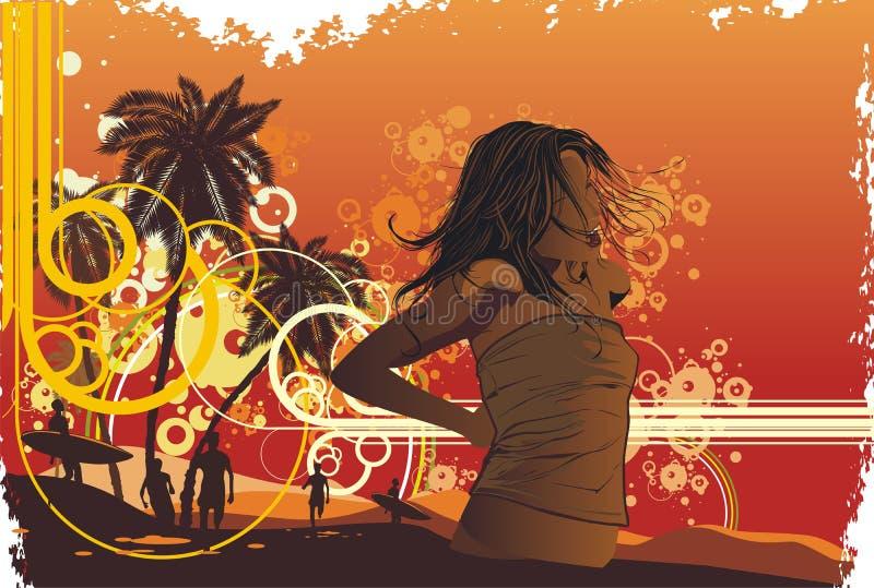 tropiska flickaöpalmträd royaltyfri illustrationer