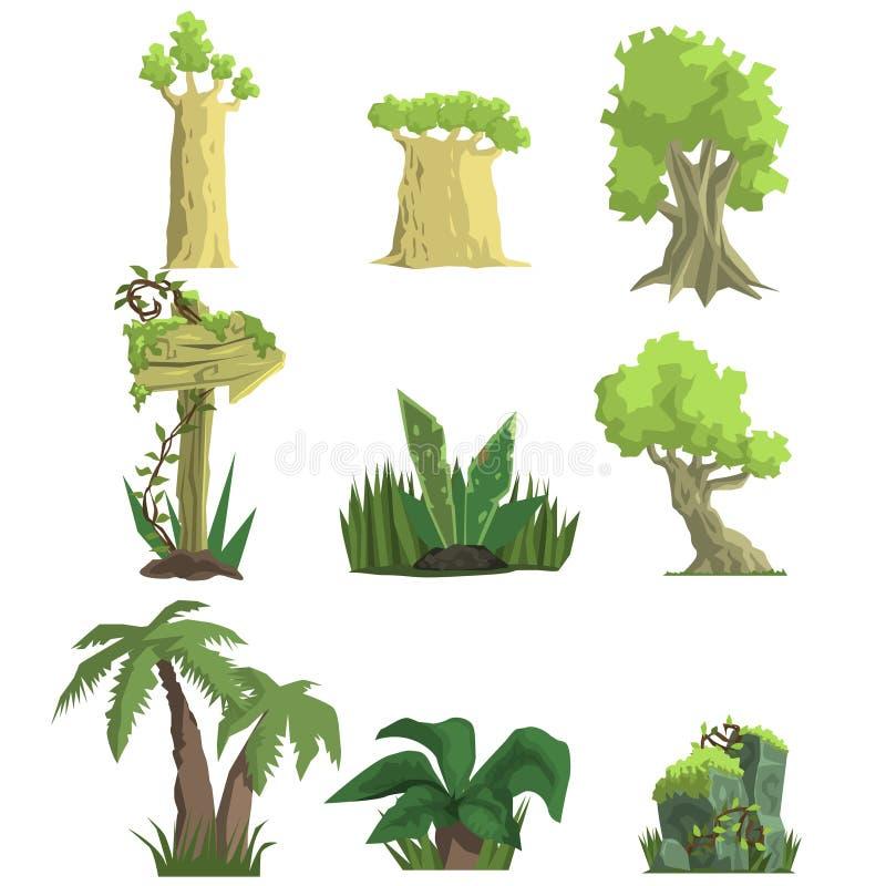 Tropiska Forest Landscape Elements royaltyfri illustrationer