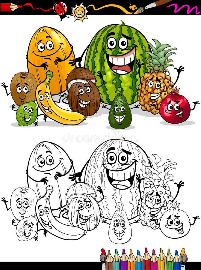 Tropiska frukter för tecknad film för färgläggningbok vektor illustrationer