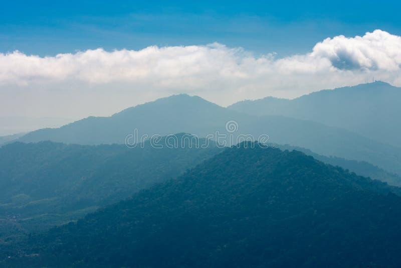 Tropiska gröna berg på morgonen i dimma royaltyfria foton