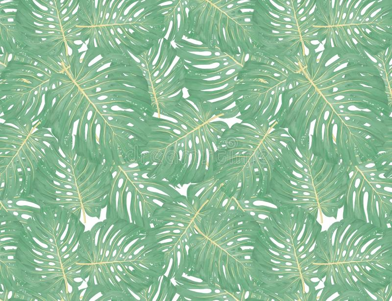 Tropiska palmblad, djungel lämnar sömlös blom- modellbakgrund stock illustrationer