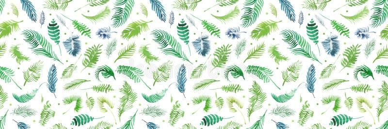 Tropiska palmblad, djungel lämnar sömlös blom- modellbakgrund, tropisk dekor för vattenfärg arkivbilder