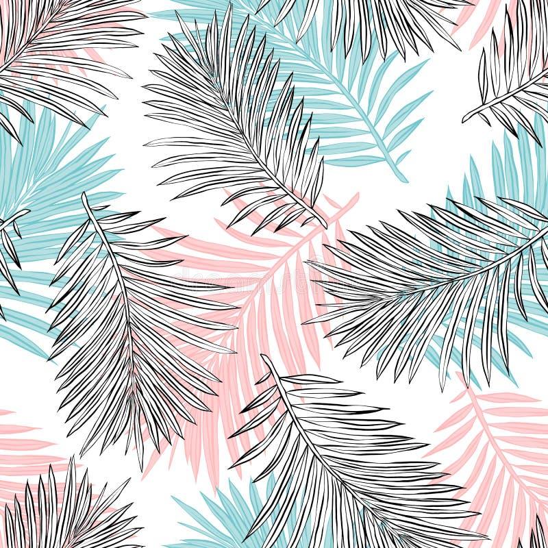 Tropiska palmblad, djungel l?mnar den s?ml?sa vektorn blom- modellbakgrund stock illustrationer