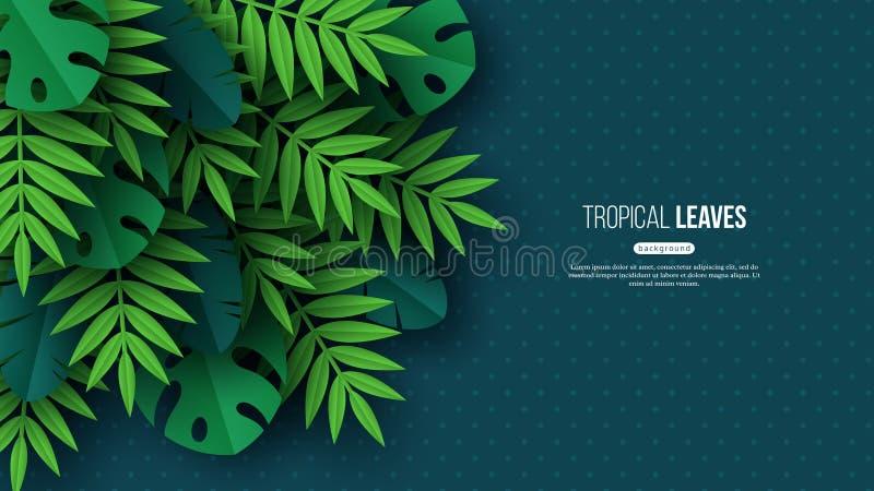 Tropiska palmblad för exotisk djungel Blom- design för sommar med prickig mörk turkosfärgbakgrund, vektor vektor illustrationer
