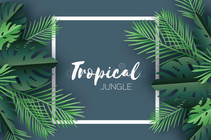 Tropiska palmblad för moderiktig sommar, växter papperssnittstil Exotisk hawaiansk sommartid Utrymme för text Fyrkantig ram stock illustrationer
