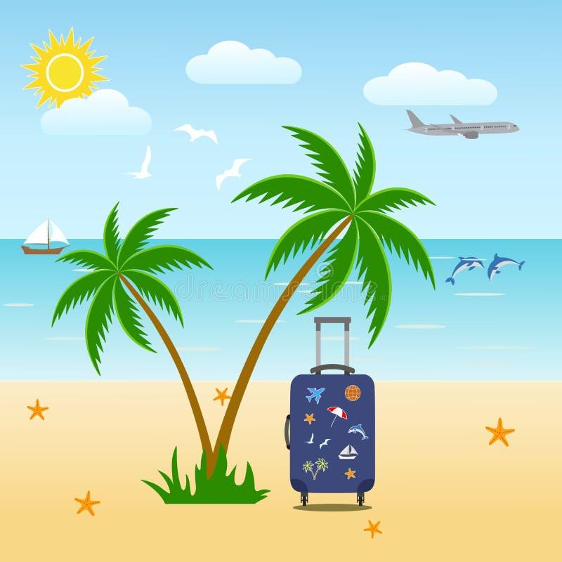 tropiska ?palmtr?d Feriesemesterbakgrund SOMMAREN landskap Sikt av havshorisonten stock illustrationer