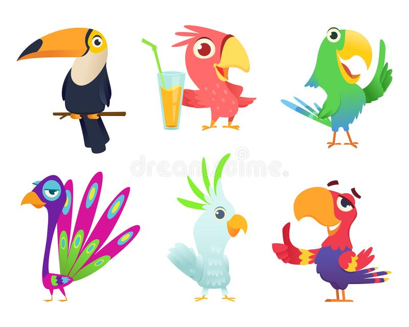 Tropiska papegojatecken Befjädrad exotiska handling för araraen för flyget för vingar för arafåglar husdjur färgad rolig exotisk  royaltyfri illustrationer