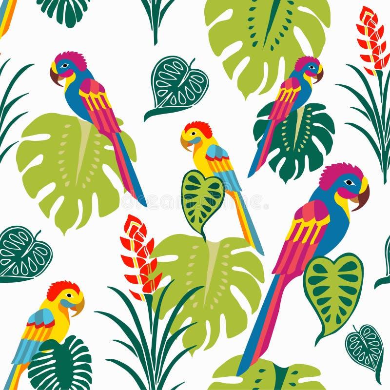 Tropiska papegojor ytbehandlar modellvektorn, färgrika fåglar upprepar modellen för textildesignen, tygutskrift, stationärt som f royaltyfri illustrationer