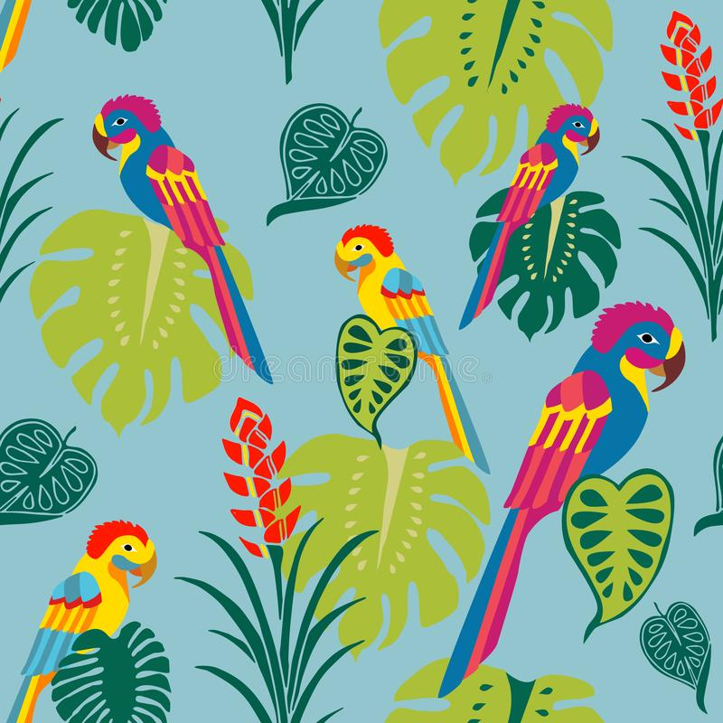 Tropiska papegojor ytbehandlar modellvektorn, färgrika fåglar upprepar modellen för textildesignen, tygutskrift, stationärt som f royaltyfria bilder