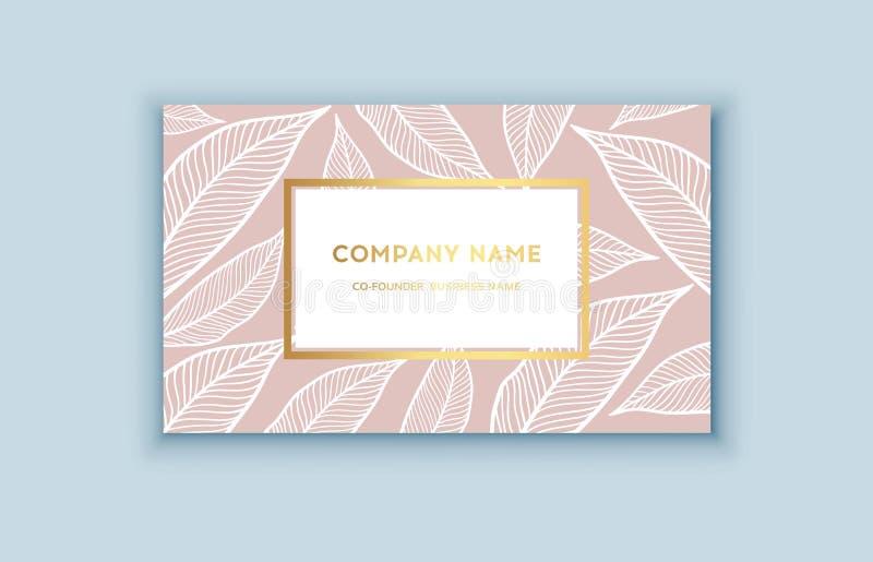Tropiska rosa färger för vektor och guldaffärskort royaltyfri illustrationer