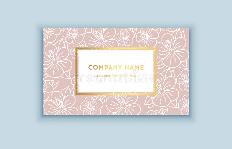 Tropiska rosa färger för vektor och guldaffärskort stock illustrationer
