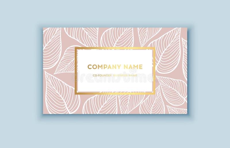 Tropiska rosa färger för vektor och guldaffärskort Exotisk design för skönhetsmedel, brunnsort, doft, hälsovårdprodukter vektor illustrationer
