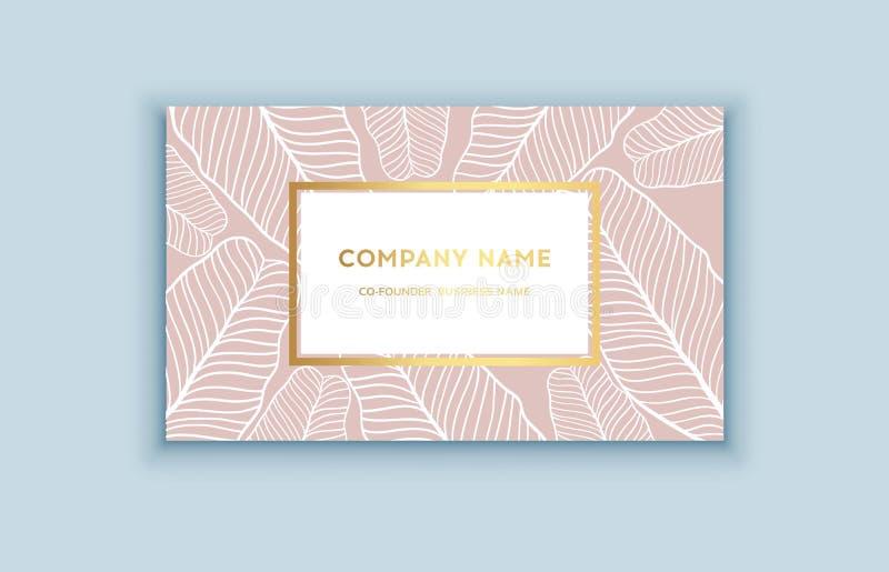 Tropiska rosa färger för vektor och guldaffärskort Exotisk design för skönhetsmedel, brunnsort, doft, hälsovårdprodukter royaltyfri illustrationer